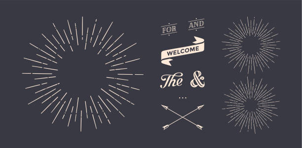 set of sunburst, vintage graphic elements - lineart stock illustrations