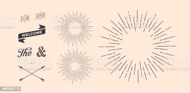 Set Of Sunburst Vintage Graphic Elements - Immagini vettoriali stock e altre immagini di A forma di stella