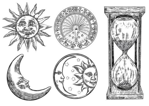 一套日記本、太陽鐘、沙漏或沙鐘和月牙形, 並刻有太陽雕刻。手繪和隔離。向量 - 新月 幅插畫檔、美工圖案、卡通及圖標