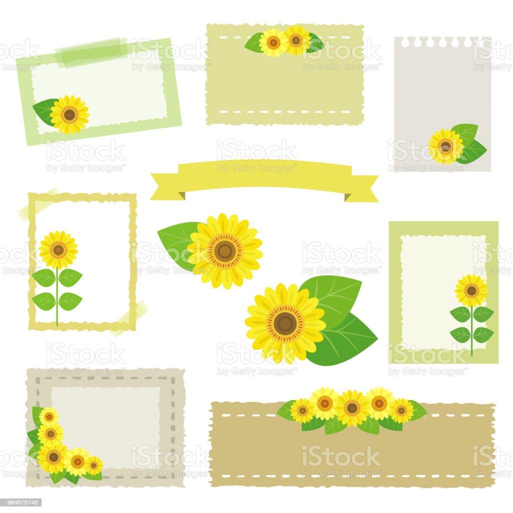set of sunflower frames The file is vector EPS 10 illustration. August stock vector