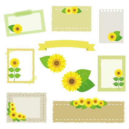 Set Of Sunflower Frames Stock Illustration - Download Image Now