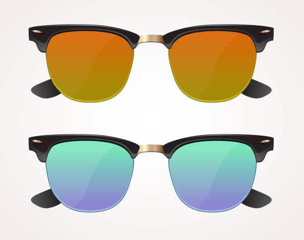ilustrações, clipart, desenhos animados e ícones de conjunto de óculos de sol e óculos wayfarer forma, marrom e azul lente, isolado - moda urbana