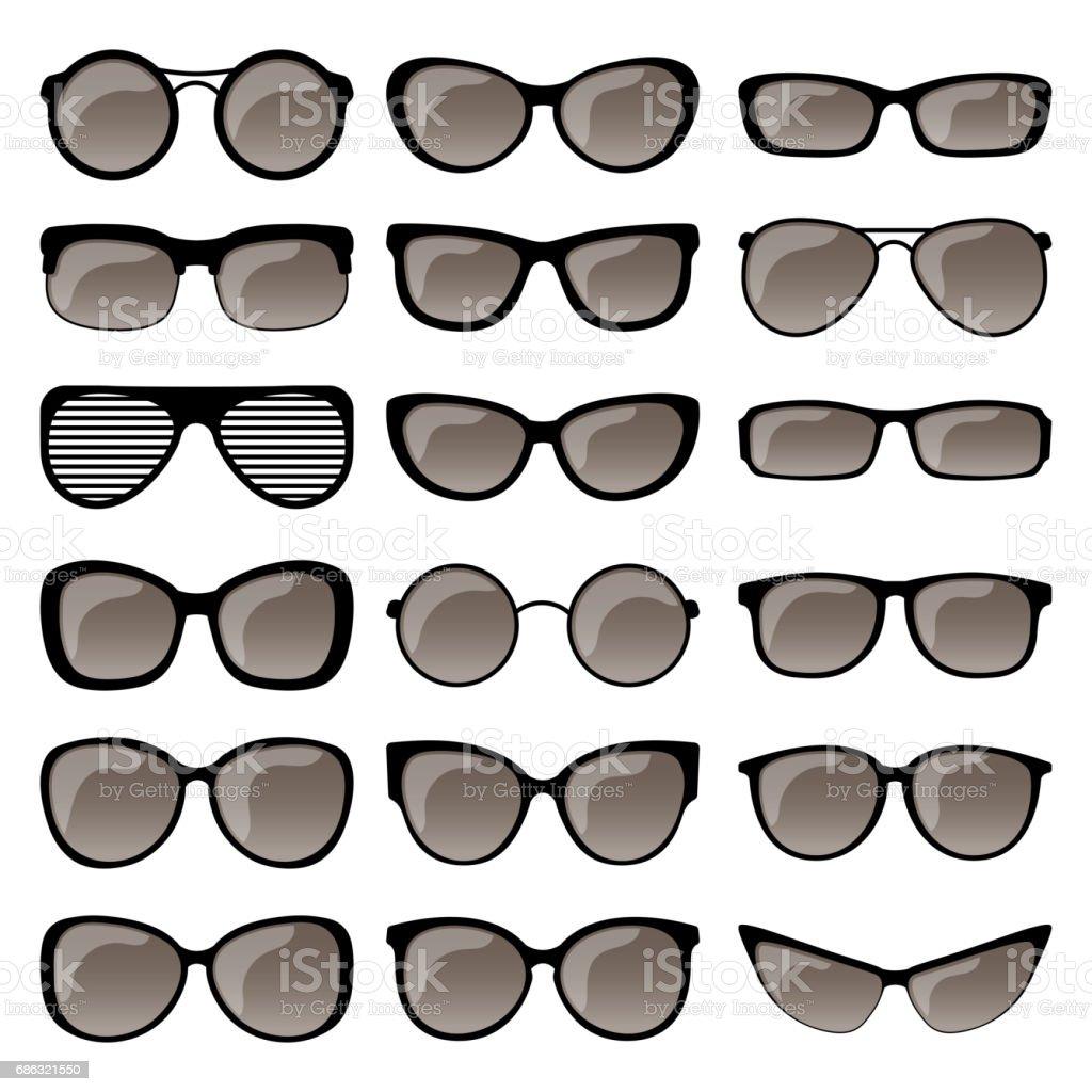 Set of sunglasses frames vector art illustration