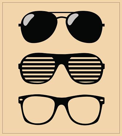 Печатьset of sunglasses vector illustration background
