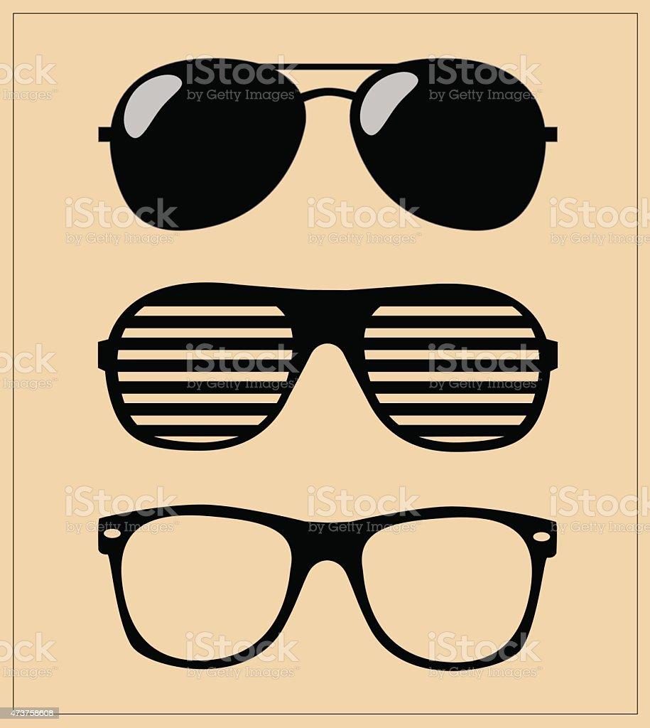 Печатьset of sunglasses vector illustration background vector art illustration