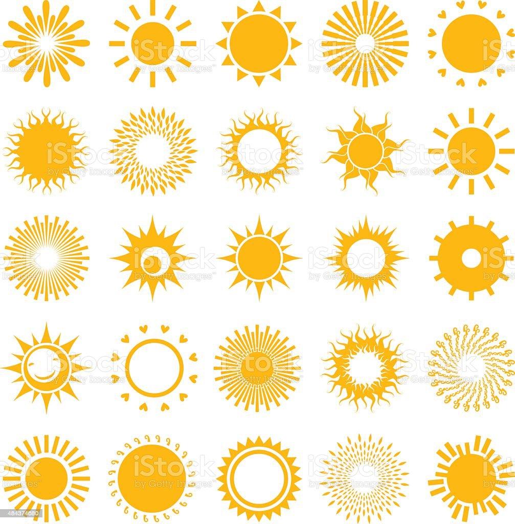 Set of suns. vector art illustration