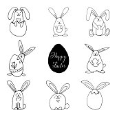 Set of super cute, adorable rabbits with eggs for easter design. Funny, hand drawn illustration in doodle style for poster, banner, print, decoration kids playroom or greeting card.