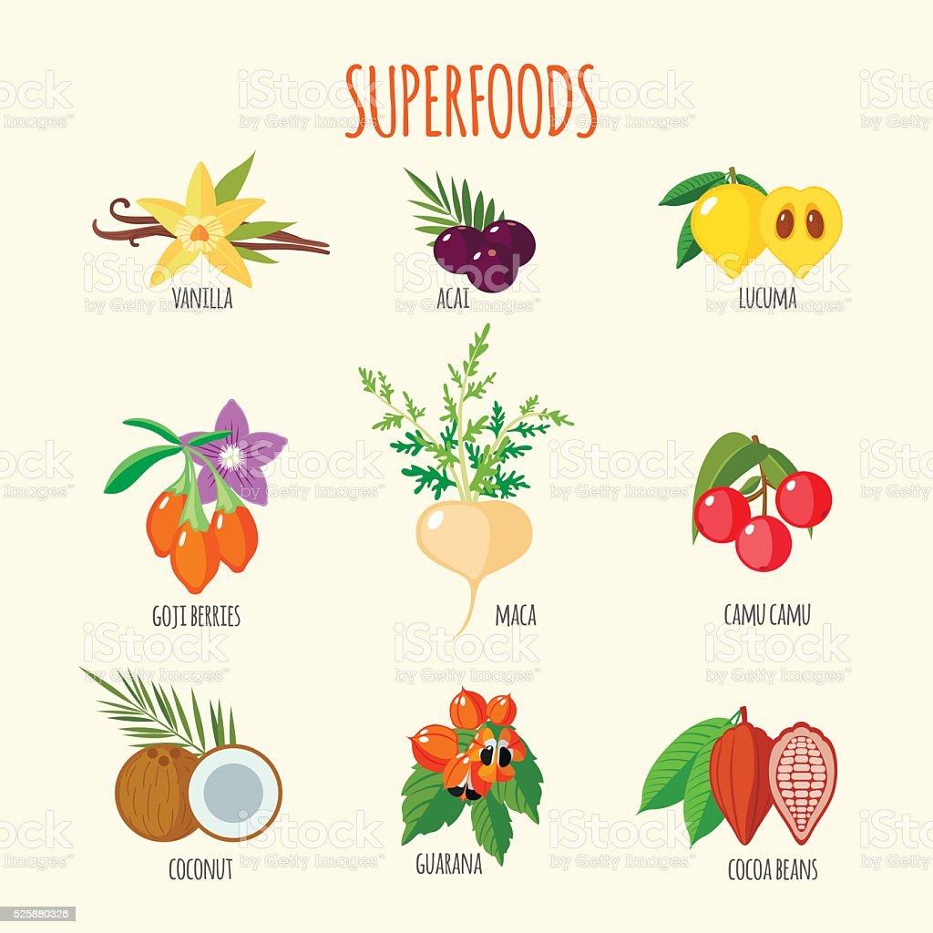 Conjunto de súper alimentos en estilo plano - ilustración de arte vectorial