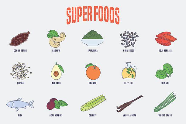 ilustrações de stock, clip art, desenhos animados e ícones de set of superfoods products, berries, green in vector - quinoa
