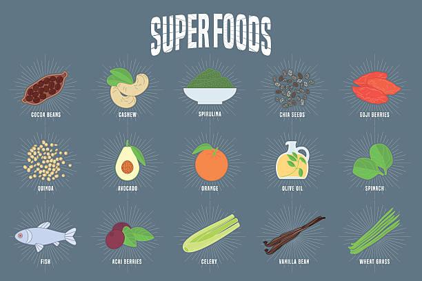 ilustrações de stock, clip art, desenhos animados e ícones de set of superfoods products, berries, roots in vector - quinoa