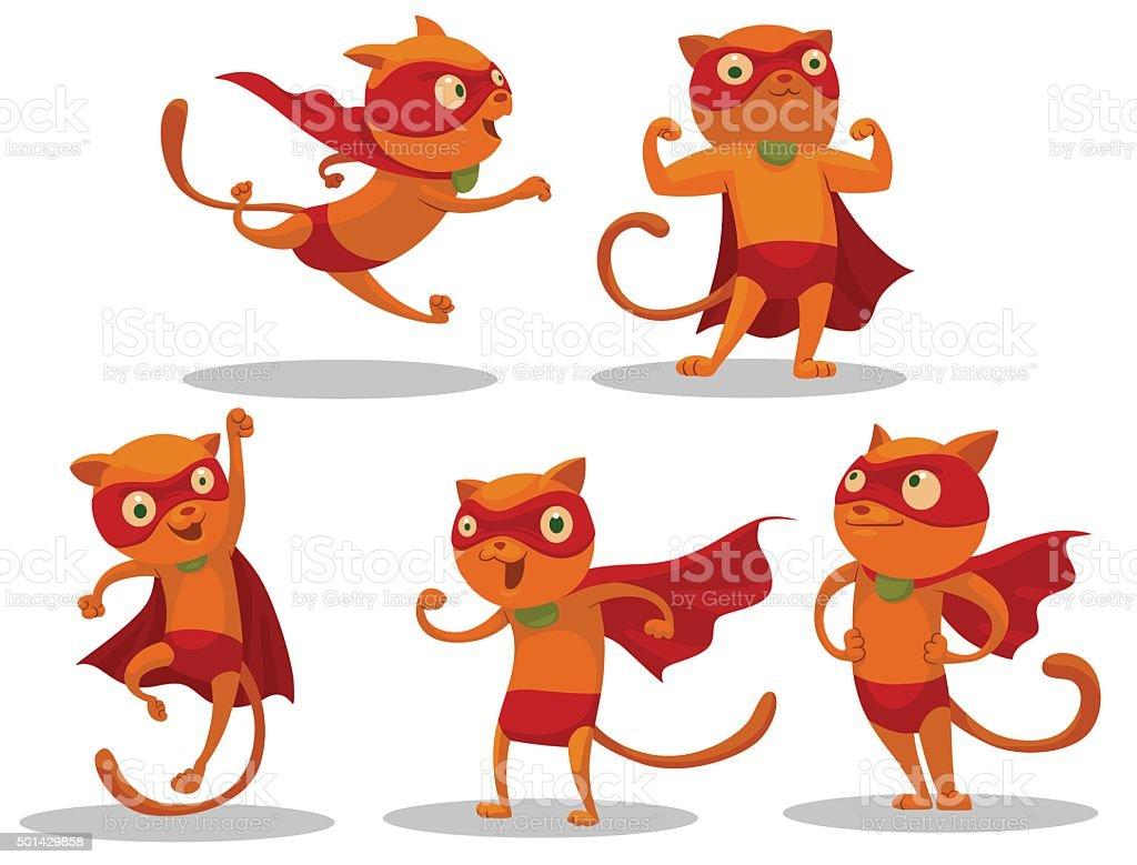 Set of Superhero Cats vector art illustration
