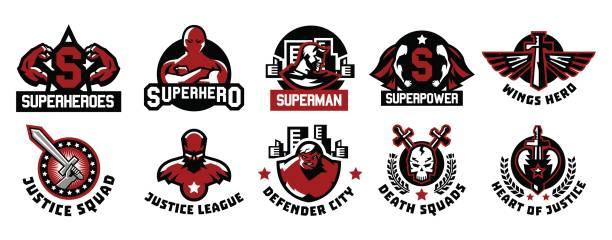 reihe von superhelden-icons. eine sammlung von bildern von superman. anzug, regenjacke, silhouette, bild, gesicht, muskeln, stadt, flügel, schwert, schädel, monster, herz. vektor-illustration. flachen stil - gerechtigkeitsliga stock-grafiken, -clipart, -cartoons und -symbole