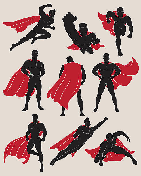 set of superhero in 9 different poses - super hero stock illustrations