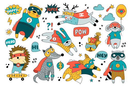 Set of superheroes in funny comics costume.