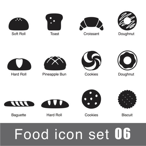 A set of supermarket icons depicting breaded goods Supermarket Food flat icon set design bread silhouettes stock illustrations