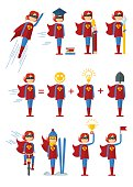 Set of images of female superhero. The characters on the theme of business, education, success, victory in the competition. Objects isolated on white background. Flat cartoon vector illustration.