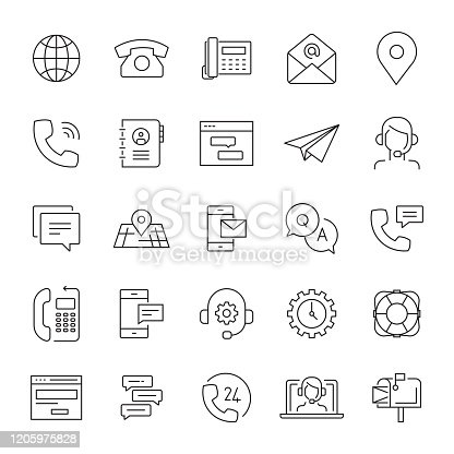 Set of Support and Contact Related Line Icons. Editable Stroke. Simple Outline Icons.