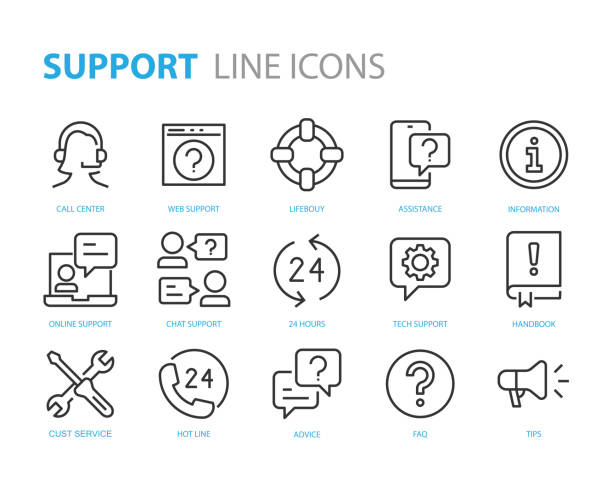 set of support icons, help, customer service, info, assistant, advise - call center stock illustrations
