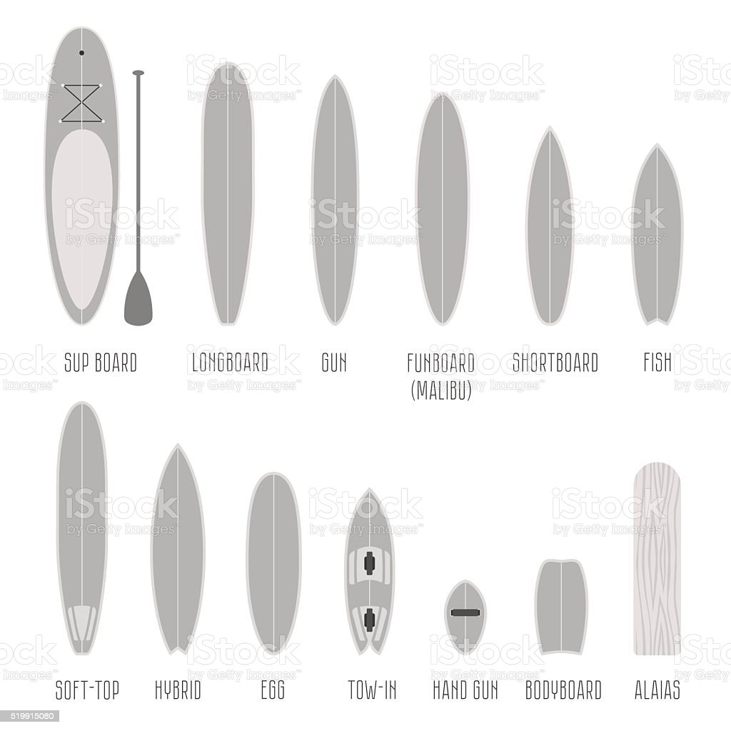 Set of surfboard types, volume shapes in scale vector art illustration