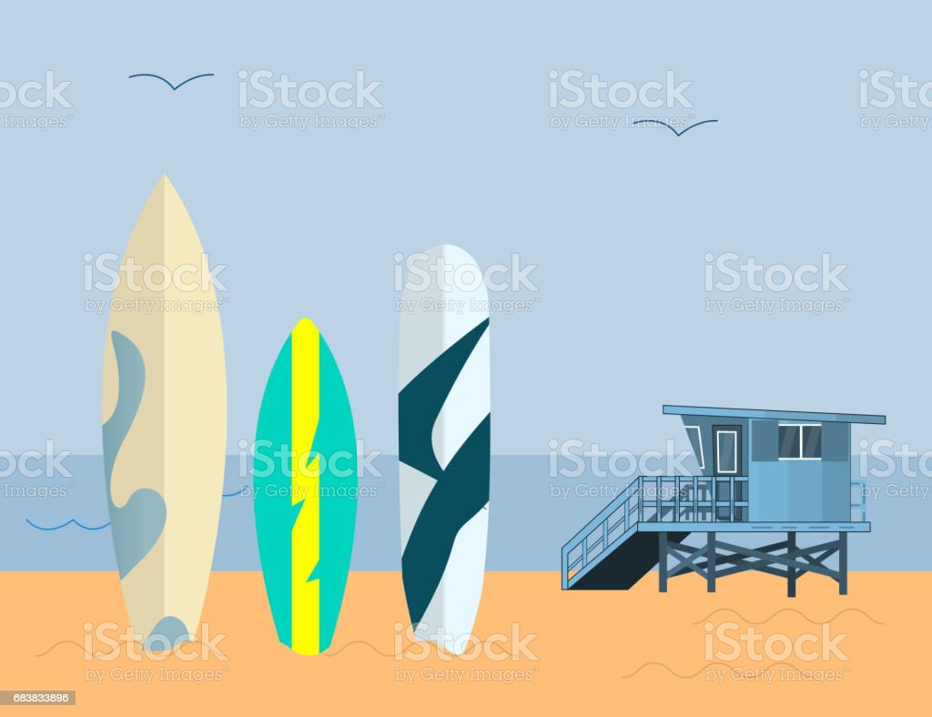 Set of Surfboards and  Sea Guard House  on a Blue Background  with Blue sky and Sand. Sea extreme sport Concept vector art illustration