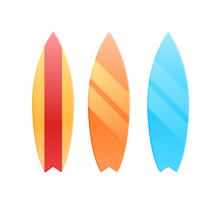 Set of surfboards with tropical backgrounds