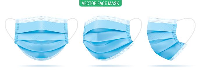 Set of surgical face masks vector illustration.