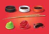 Set of sushi sauce, chopstick, wasabi and ginger.