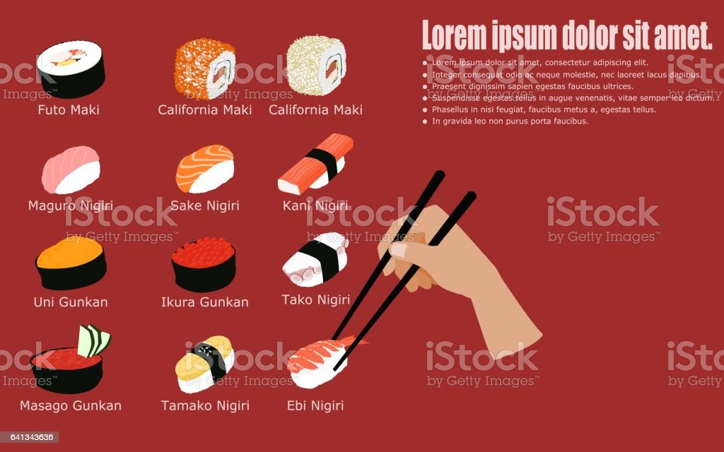 Set of Sushi with hand holding chopsticks vector art illustration