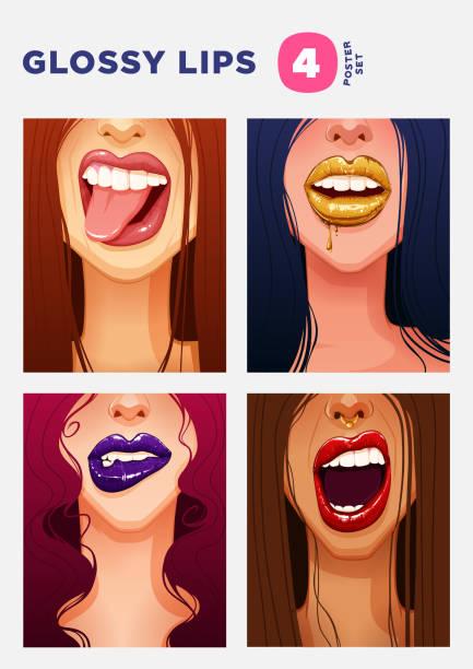 satz von swag illustrationen. close-up sexy frauen gesichter mit schönen vollen glänzende lippen - swag stock-grafiken, -clipart, -cartoons und -symbole