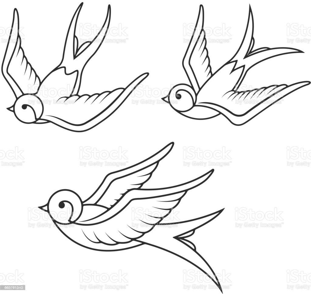 Conjunto de plantillas de tatuaje golondrina aislado sobre fondo blanco. Iconos de aves - ilustración de arte vectorial