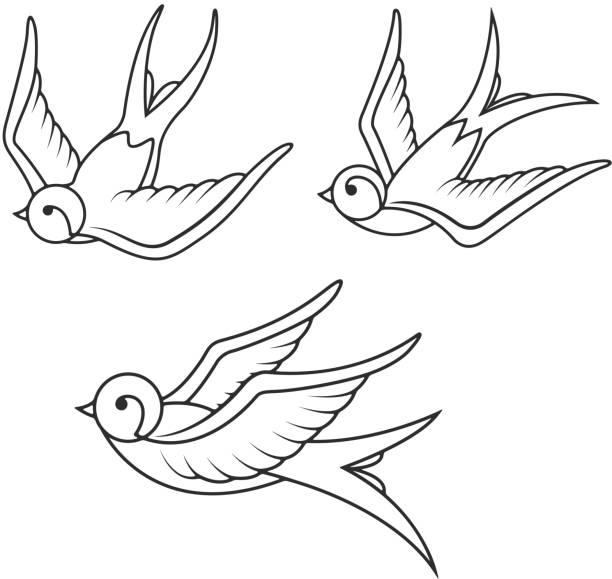 illustrations, cliparts, dessins animés et icônes de ensemble de modèles de tatouage hirondelle isolé sur fond blanc. icônes de l'oiseau - tatouages d'oiseaux