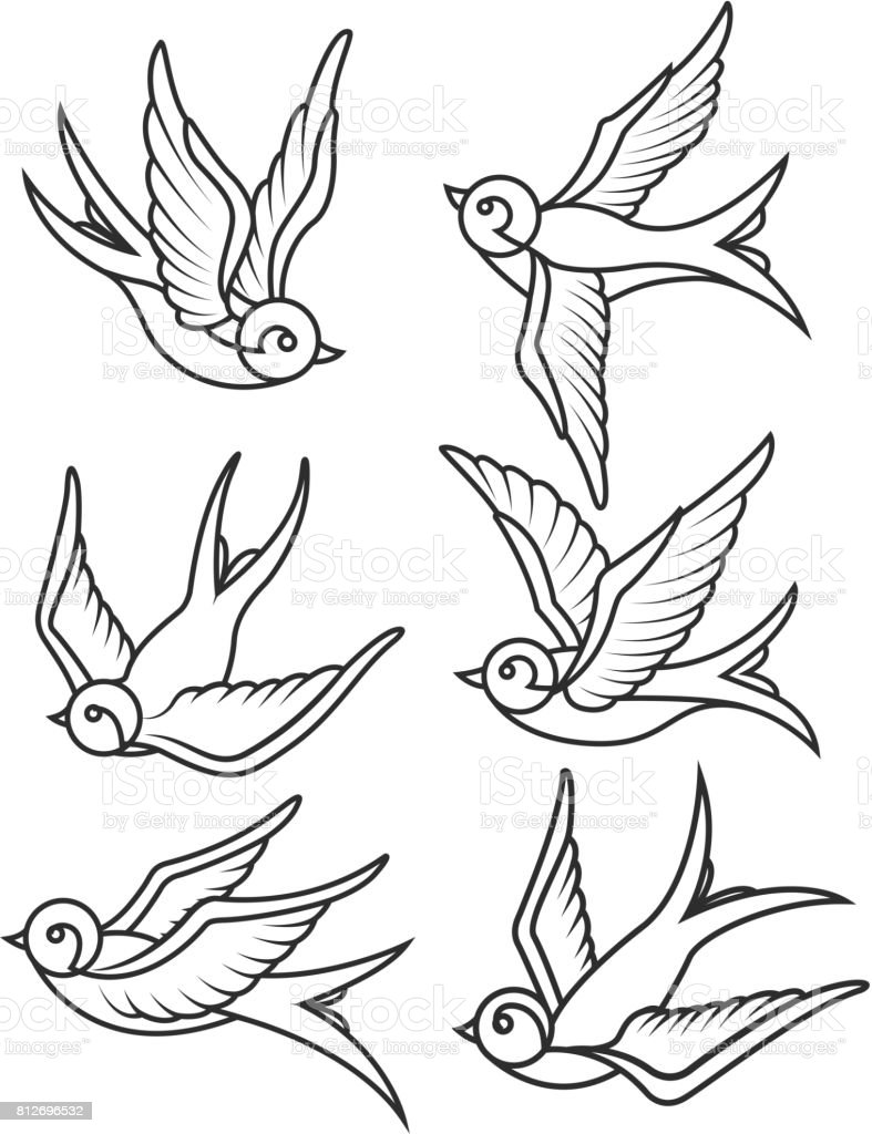 set of swallow tattoo templates isolated on white. Black Bedroom Furniture Sets. Home Design Ideas