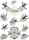 Set of swallow tattoo. Vintage anchor and roses. Design element for label, emblem, sign. Vector illustration