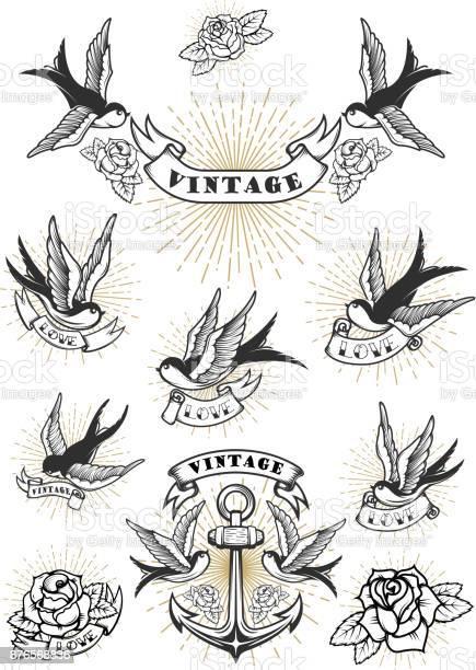 Set of swallow tattoo vintage anchor and roses design element for vector id876568836?b=1&k=6&m=876568836&s=612x612&h=vy8ciukxss4jlt9rctbkdjdfjrfddttxklqefzlhkqa=