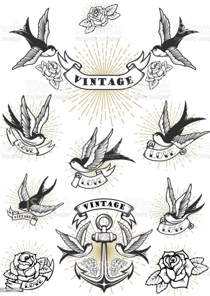 Conjunto de tatuaje de la golondrina. Ancla del vintage y rosas. Elemento de diseño para la etiqueta, emblema, signo. Ilustración de vector - ilustración de arte vectorial