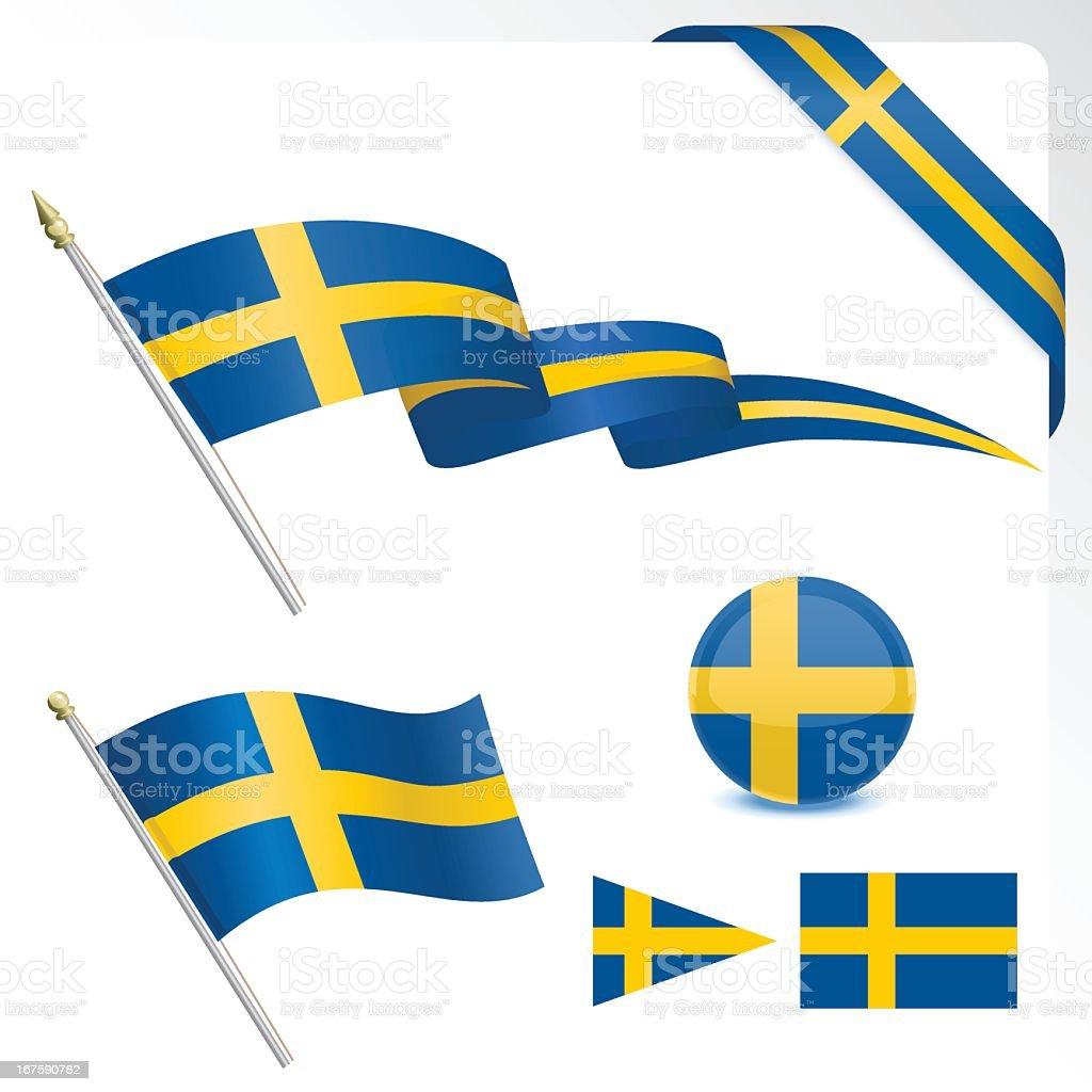 Set of Swedish flag designs on a white background vector art illustration