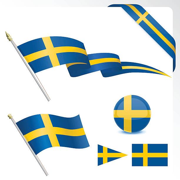 ilustraciones, imágenes clip art, dibujos animados e iconos de stock de conjunto de bandera sueca - bandera sueca