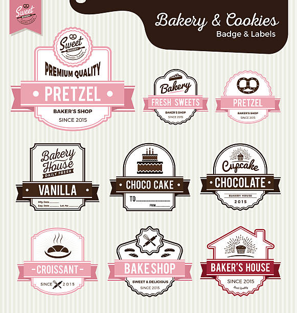 set of sweet bakery and bread labels design - bakeries stock illustrations, clip art, cartoons, & icons