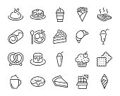 set of sweet bakery icons, such as ice cream, cake, smoothies, bread