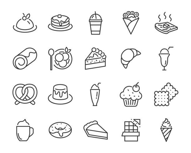 bildbanksillustrationer, clip art samt tecknat material och ikoner med uppsättning av söta bageri ikoner, såsom glass, tårta, smoothies, bröd - brownie
