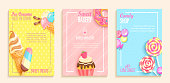 Set of sweet candy,bakery and ice cream shops flyers,banners. Collection of pages for kids menu,caffee,posters. Pastry,donuts,cupcake,lollipop cafeteris cards.Template vector illustration.