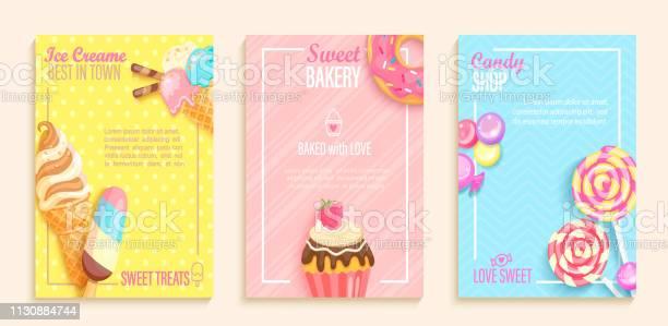 Set Of Sweet Candy Bakery Ice Cream Shops Flyers - Arte vetorial de stock e mais imagens de Banda desenhada - Produto Artístico