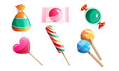 Collection set of sweet, delicious chocolates in a multi-colored wrapper in different shapes. Isolated icons set illustration on a white background in cartoon style.