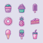 set of sweet donut and icons vector illustration design