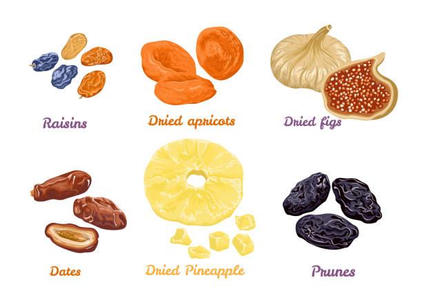 stockillustraties, clipart, cartoons en iconen met set van zoete droge vruchten snacks. vector illustratie in platte stijl. icons-collectie geïsoleerd op wit. gedroogde vijgen, abrikozen, ananassen, rozijnen, dadels en pruimen. - gedroogd voedsel