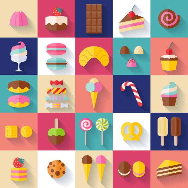 Set of sweet food icons Set of sweet food icons flat style with shadow. Candy, sweets, lollipop, cake, donut, macaroon, ice cream, jelly. candy icons stock illustrations