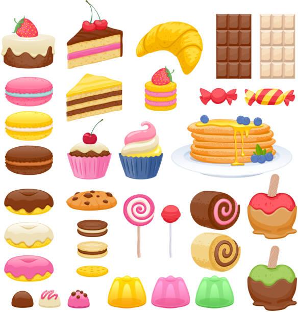 ilustraciones, imágenes clip art, dibujos animados e iconos de stock de conjunto de iconos de dulces - postre