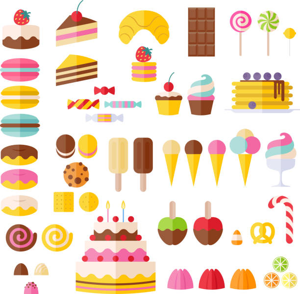 Set of sweet food icons. Set of sweet food icons. Candy, sweets, lollipop, cake, donut, macaroon, ice cream, jelly. jello stock illustrations