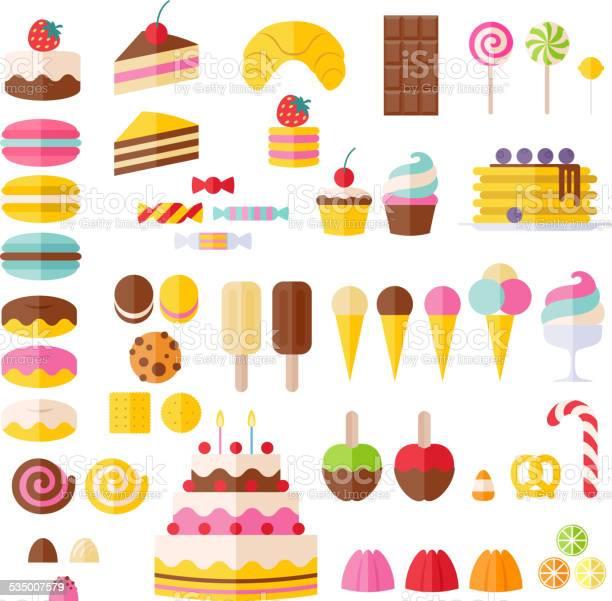 세트마다 달콤함 음식 아이콘 0명에 대한 스톡 벡터 아트 및 기타 이미지