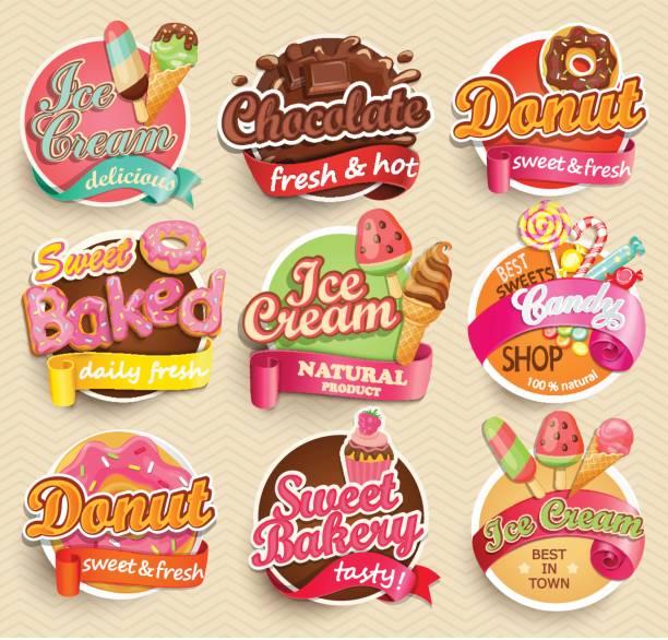 ilustraciones, imágenes clip art, dibujos animados e iconos de stock de conjunto de etiquetas de los alimentos dulces. - postre